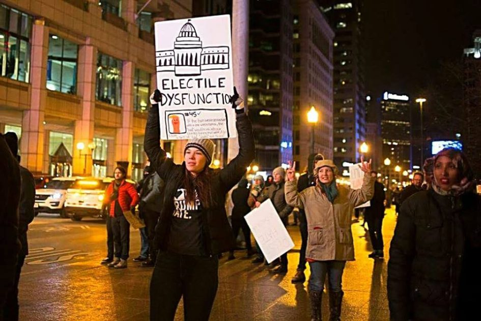 Protesters march in downtown Columbus in response to Trump's recent
