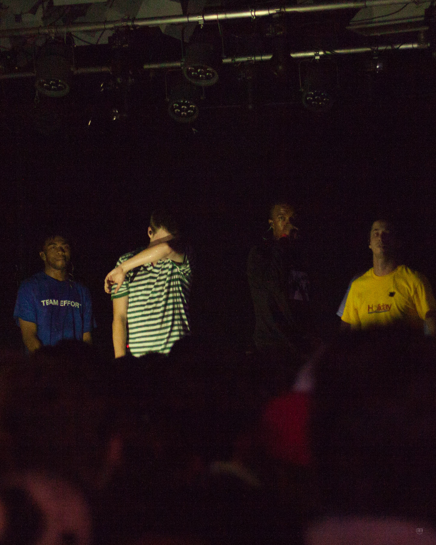 Brockhampton members Kevin Abstract, Joba, Ameer Vann, and Matt Champion take the stage at their sold-out show in Detroit, MI