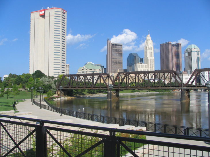 View_of_Downtown_Columbus_Ohio_OH_from_North_Bank_Park_Pavillion_on_Scioto_River