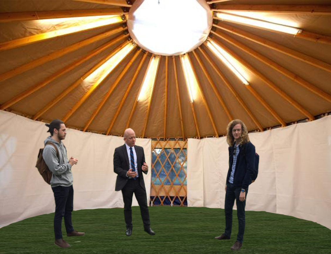 Provost welcomes students to new yurt