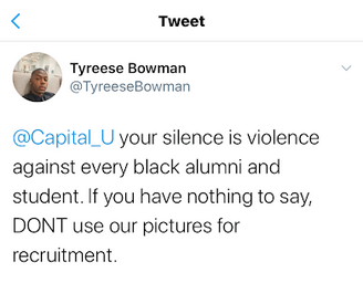 This second image shows a tweet from Capital alum Tyreese Bowman stating that Capital's silence is violence in regard to protests.