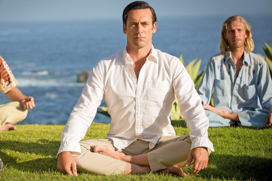 Don Draper Meditating in front of an ocean.