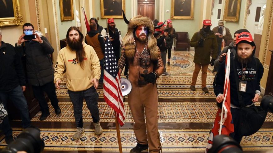 Image of Trump supporters standing in the U.S. Capitol Building.