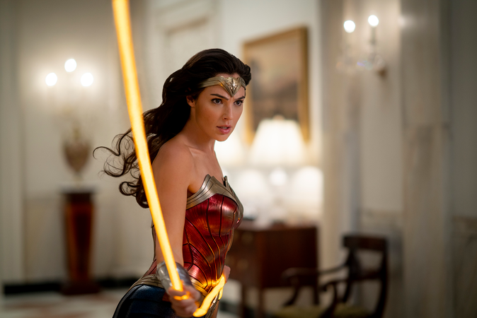 Gal Gadot's WonderWoman in costume with super-powered whip
