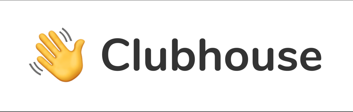 """Clubhouse app logo — waving hand emoji followed by """"Clubhouse"""" text in sans serif font"""