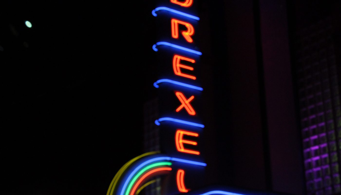 Shown is the Drexel Theatre sign